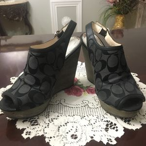 Coach Open Toed Platform Wedge Shoes